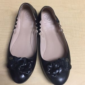 Tory Burch Blossom Ballet Flats Black Size 10.5